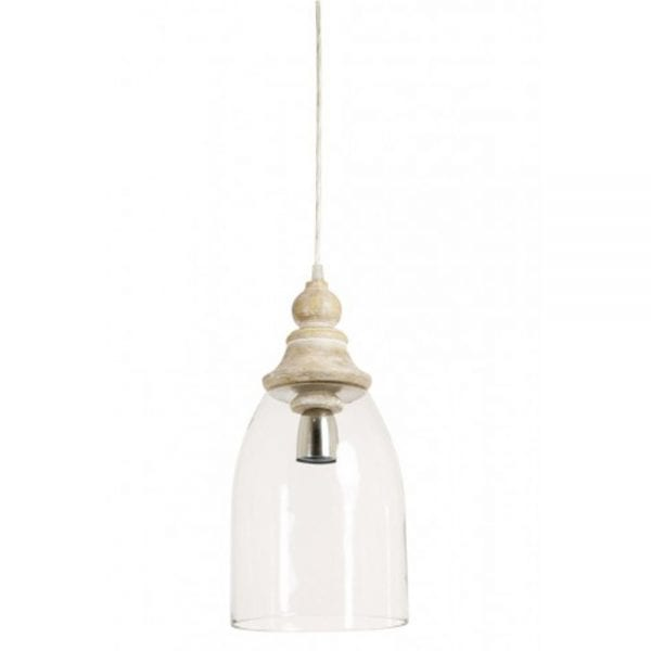 sade glass with wooden top hanging lamp