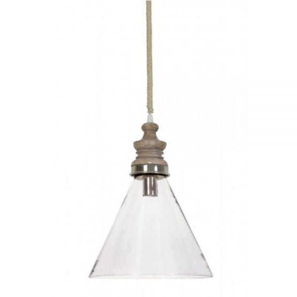 sieba glass with wooden top hanging lamp