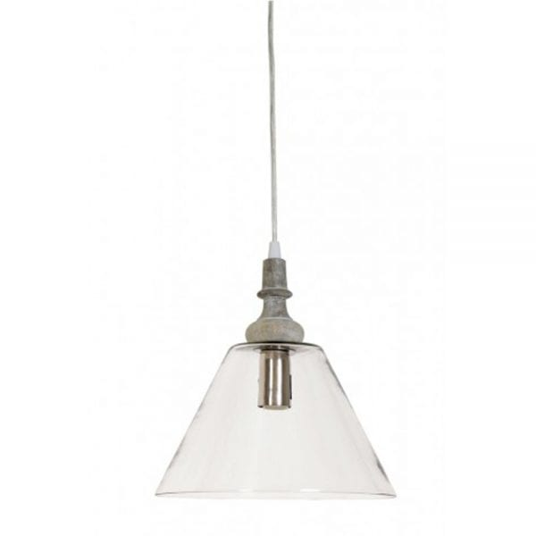 lyana glass with wooden top hanging lamp