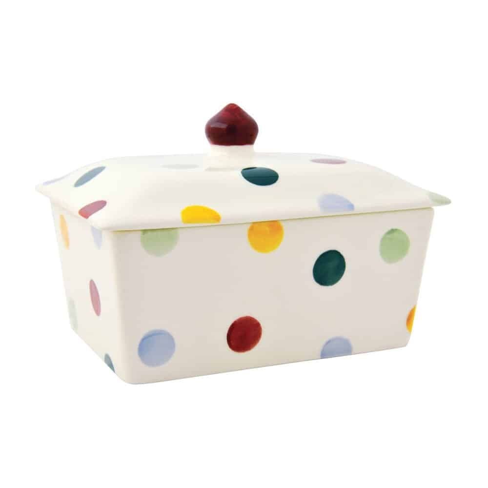 Polka dot small butter dish david james kitchens for David james kitchen designs